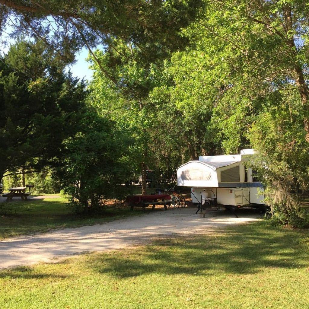 Pop Up Camper At Campground