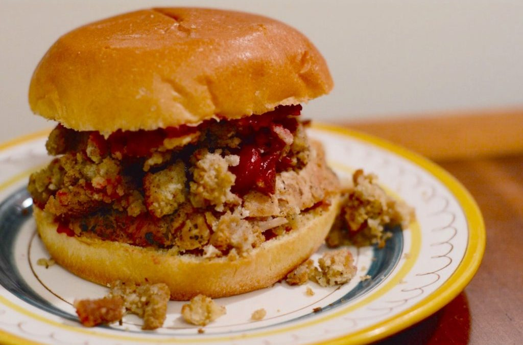 Thanksgiving at the Campground: Turkey Sandwiches with Stuffing and Cranberry Sauce on Brioche Buns