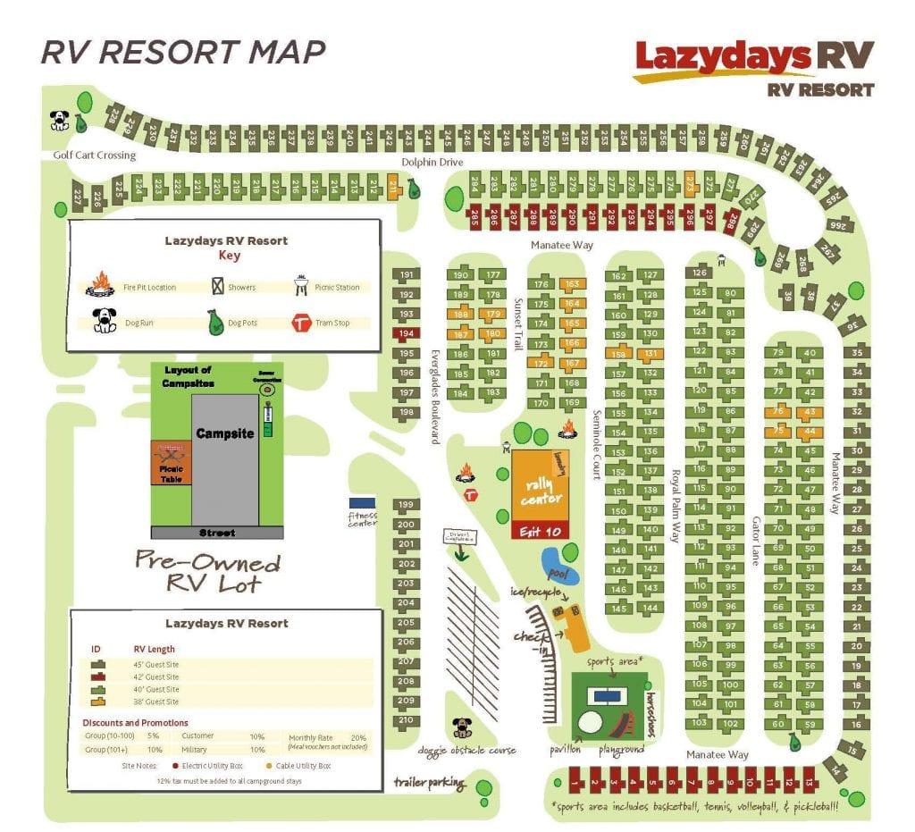 Lazydays RV Resort Map