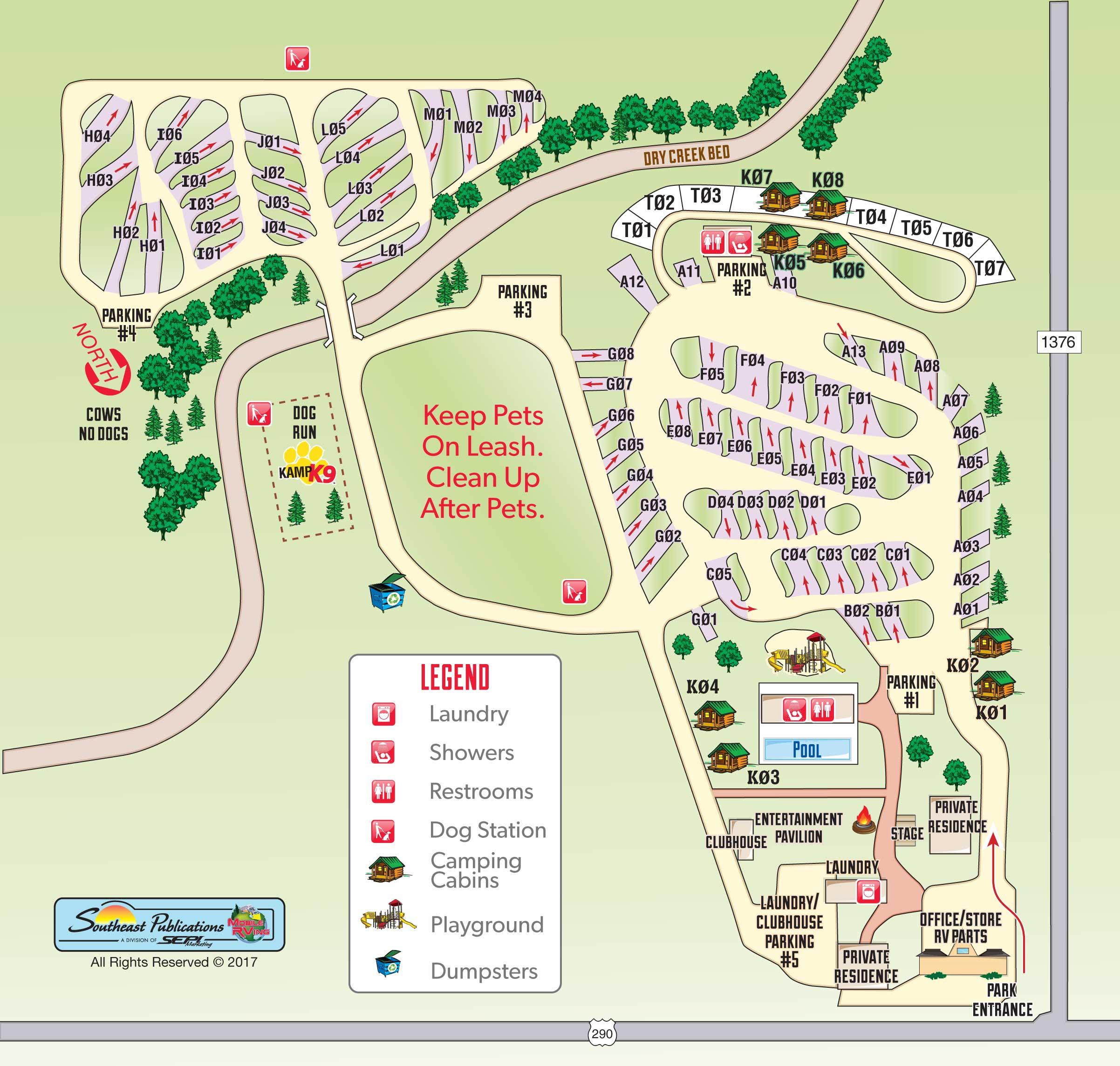 fredericksburg koa map - RV Family Travel Atlas