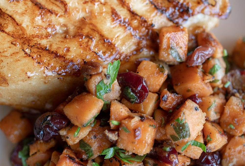 Skillet Sweet Potatoes with Pecans and Cranberries from the Campground Gourmet