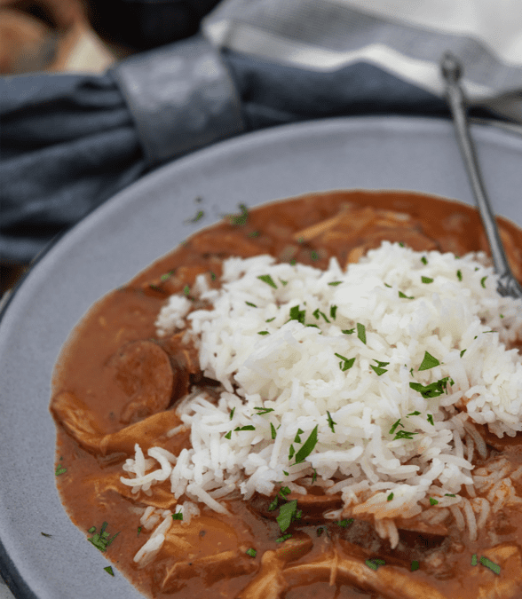 Campfire Chicken and Sausage Gumbo