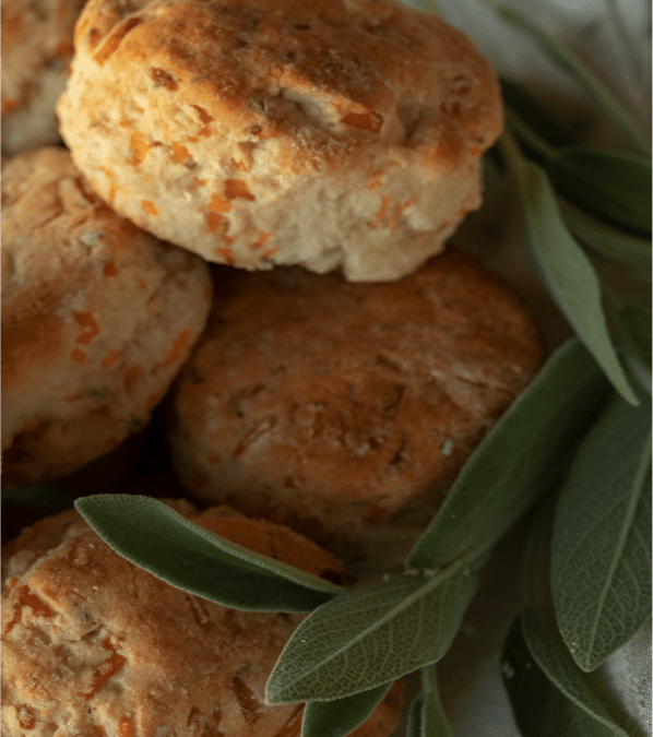 Herb Cheddar Biscuits with Sausage Gravy