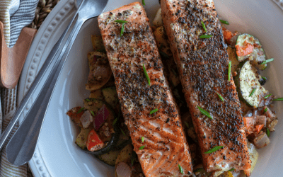 Cast Iron Lemon Pepper Salmon from The Campground Gourmet