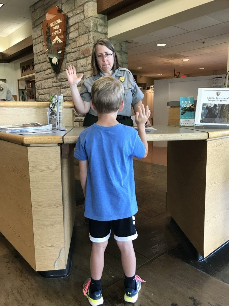 Wes is sworn in to be a junior ranger at Shenandoah NPS