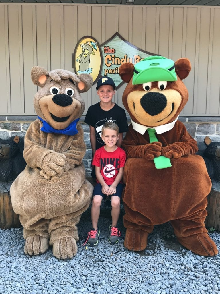 Yogi and Cindy Bear pose for photos at Jellystone Williamsport