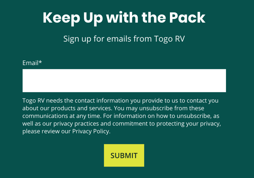 Sign up for the Togo RV newsletter